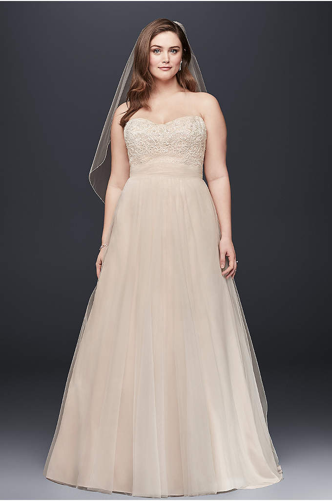 A-Line Beaded Lace Tulle Plus Size Wedding Dress - This elegant and timeless plus-size A-line wedding dress