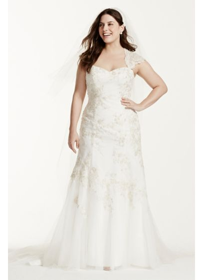 Tulle Satin Cap Sleeve Plus Size Wedding Dress | David\'s Bridal