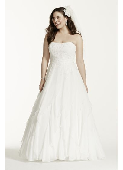 A-Line Chiffon Ruffled Plus Size Wedding Dress | David\'s Bridal