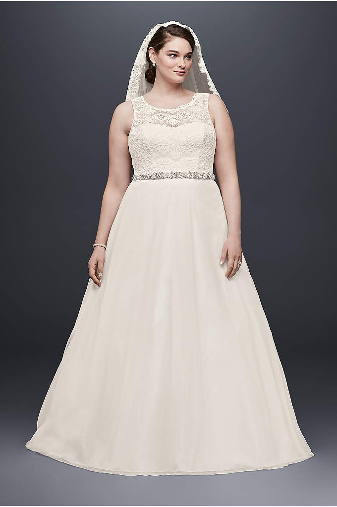 Illusion Lace Tank A-Line Plus Size Wedding Dress - Your guests won't be able to take their