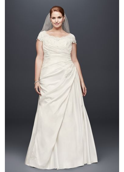 Appliqued Gathered Satin Plus Size Wedding Dress - Gently scalloped beaded lace appliques form the neckline,