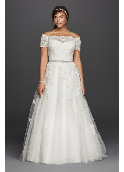 Jewel Scalloped Sleeve Plus Size Wedding Dress Davids Bridal