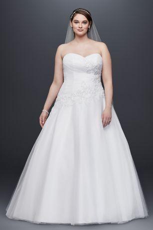 Tulle Plus Size Wedding Dress Lace Applique | David\'s Bridal
