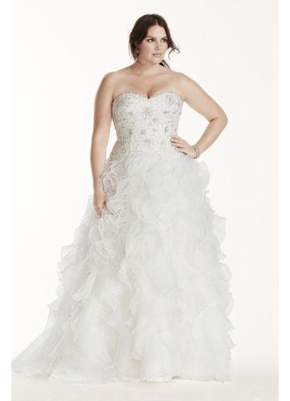 Jewel Organza Plus Size Wedding Dress with Ruffles | David\'s Bridal