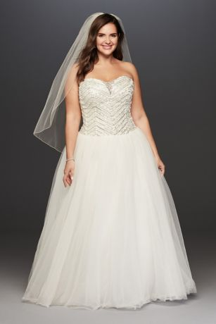 Jewel Tulle Plus Size Wedding Dress with Crystals   David\'s Bridal