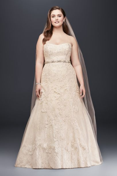 champagne plus size wedding dresses lace a line beaded plus size wedding dress david s 2544