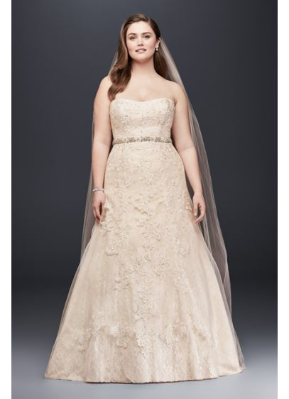 Jewel Lace A-Line Beaded Plus Size Wedding Dress - Effortlessly beautiful, this strapless A-line wedding gown shimmers