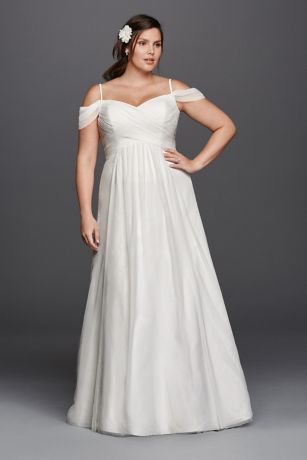 A-line Plus Size Wedding Dress with Swag Sleeves | David\'s Bridal