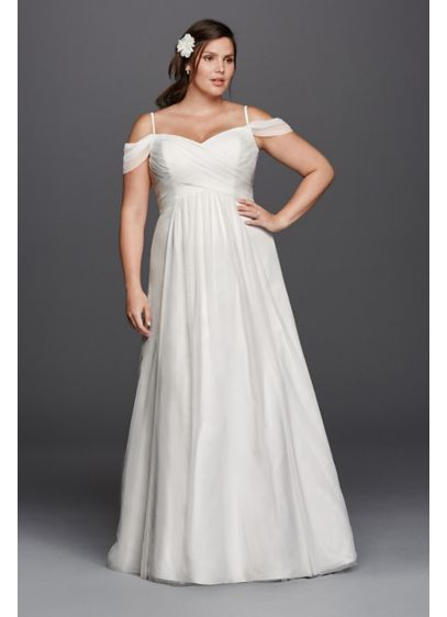 A Line Plus Size Wedding Dress With Swag Sleeves Davids Bridal