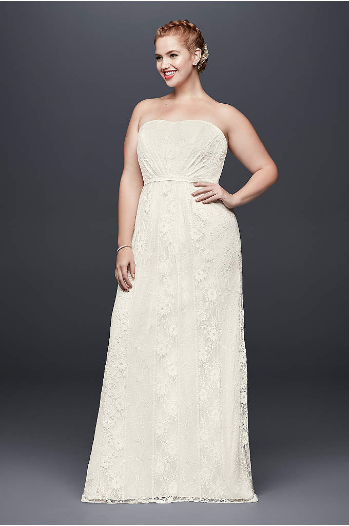 Linear Lace Plus Size Wedding Dress with Ribbon - This strapless, linear lace plus size wedding dress