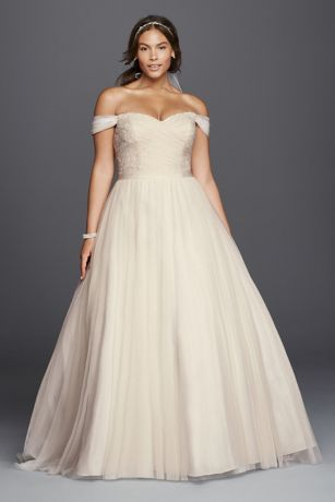 Off the Shoulder Wedding Dresses Plus Sized Princess
