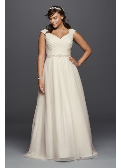 Tulle A-line Plus Size Wedding Dress with Sash