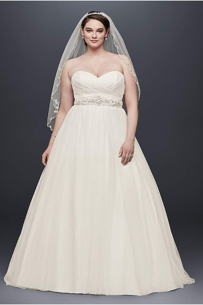 Plus Size Strapless Sweetheart Tulle Wedding Dress - Imagine walking down the aisle in this stunning