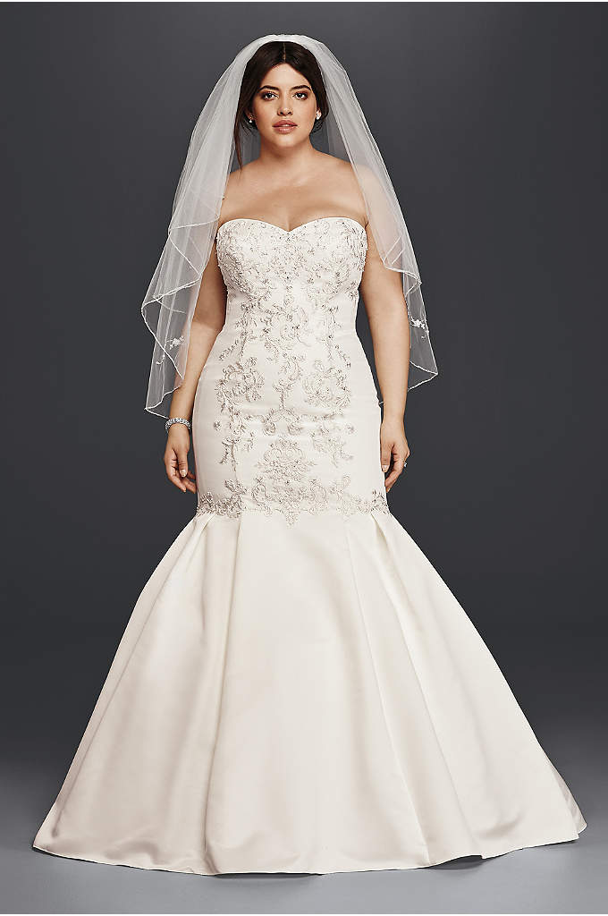 Lace and Satin Plus Size Mermaid Wedding Dress - Designed to create a jaw-dropping silhouette, this satin