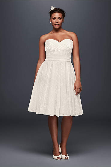 Strapless Lace Plus Size Short Wedding Dress