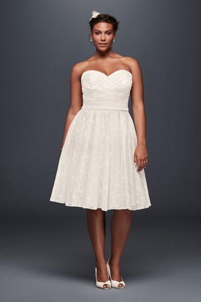 Strapless Lace Plus Size Short Wedding Dress David S Bridal