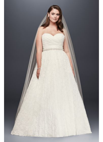 Lace Sweetheart Plus Size Ball Gown Wedding Dress - The strapless, ball gown is a classic for
