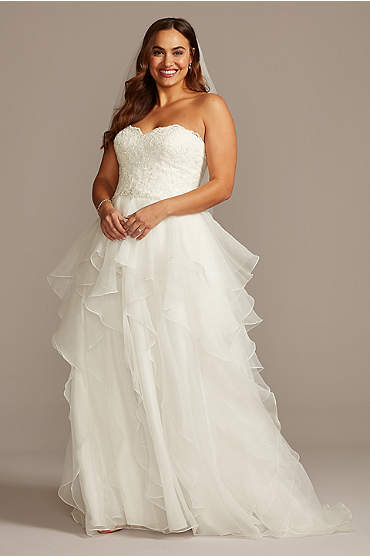 Lace and Organza Plus Size Ball Gown Wedding Dress