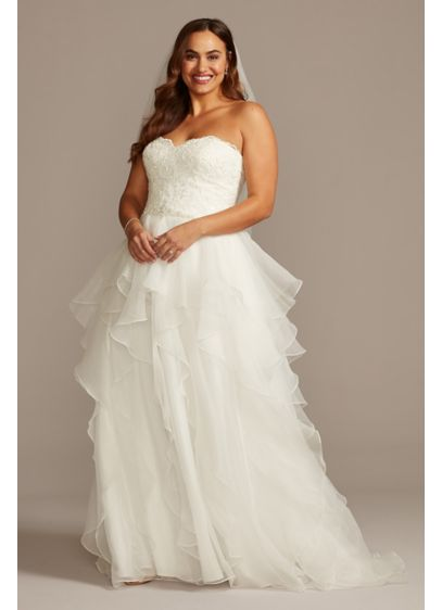 Lace And Organza Plus Size Ball Gown Wedding Dress Davids Bridal