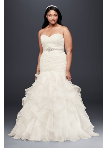 Ruffled Organza Plus Size Mermaid Wedding Dress - Precise pleats and romantic ruffles offer a contrast