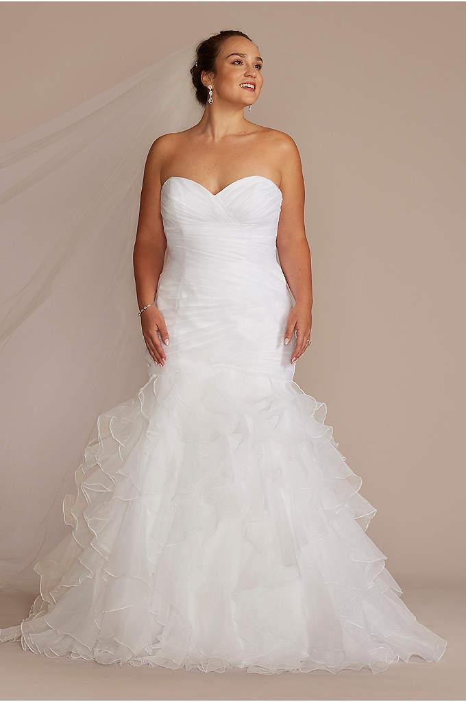 Ruffled Organza Plus Size Mermaid Wedding Dress - Precise pleats and romantic ruffles offer a contrast