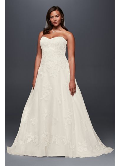 Beaded Organza A-Line Plus Size Wedding Dress - Beaded lace appliques sparkle softly across the bodice
