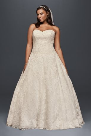 Allover Beaded Plus Size Ball Gown Wedding Dress | David\'s Bridal