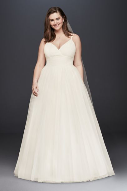 Pleated Tulle Plus Size Ball Gown Wedding Dress David S Bridal