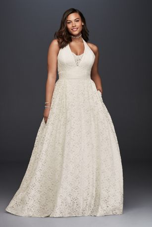 Plunging Lace Halter Plus Size Wedding Dress | David\'s Bridal
