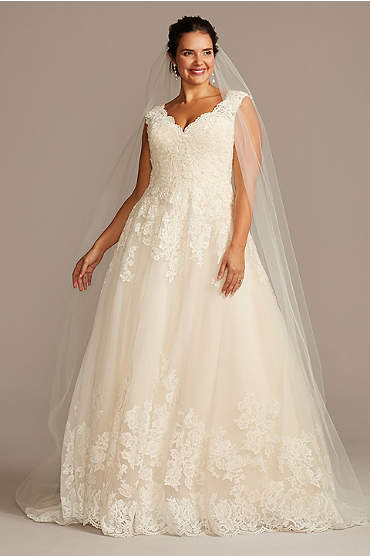Scalloped Lace and Tulle Plus Size Wedding Dress