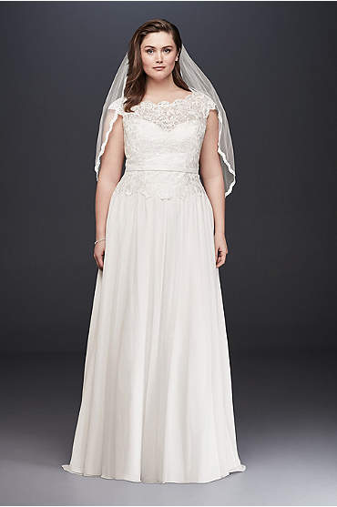 Illusion Lace and Chiffon Plus Size Wedding Dress