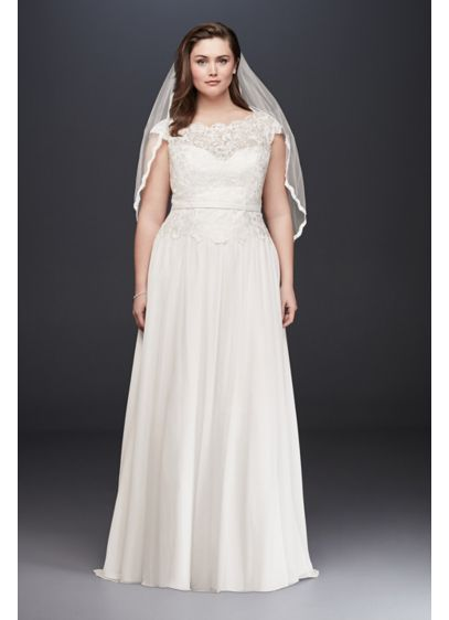 Illusion Lace and Chiffon Plus Size Wedding Dress - This soft A-line lace and chiffon wedding dress