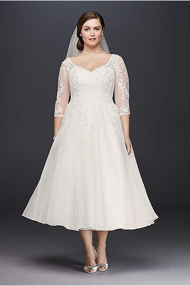 Tulle Plus Size Tea-Length Wedding Dress