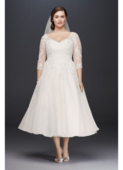 Tulle Plus Size Tea Length Wedding Dress