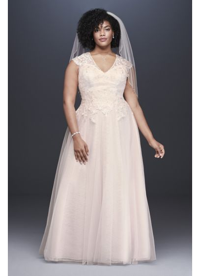 Tulle-Over-Lace Plus Size A-Line Wedding Dress - Lace appliques trail from the V-neck, cap-sleeve bodice