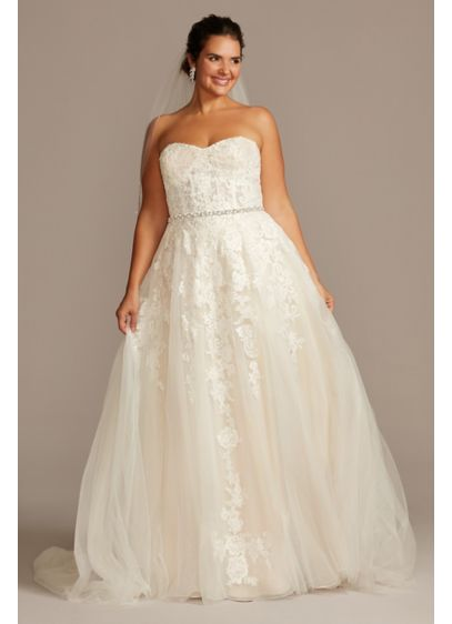 Sheer Lace And Tulle Plus Size Wedding Dress Davids Bridal