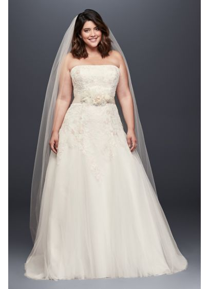 Appliqued Tulle A-Line Plus Size Wedding Dress - A straight neckline gives this strapless A-line wedding