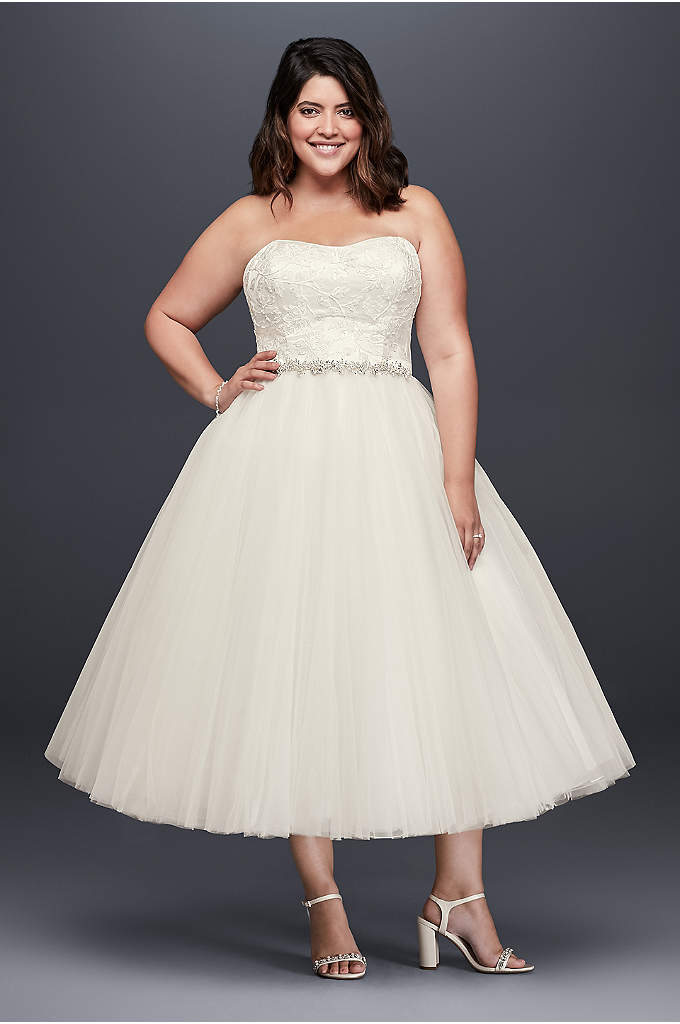 Appliqued Tulle Tea-Length Plus Size Wedding Dress - Shimmering with sequined appliques and adorned with layers