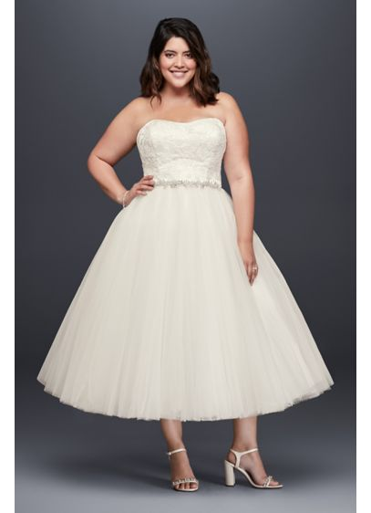 Appliqued Tulle Tea-Length Plus Size Wedding Dress