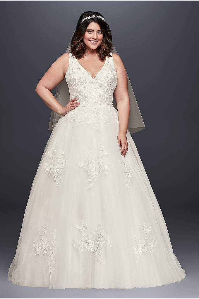 Mikado and Tulle Plus Size Ball Gown Wedding - A dream of a wedding dress! This V-neck