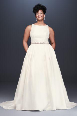 78f57506f55d1 High-Neck Mikado Plus Size Ball Gown Wedding Dress   David's Bridal