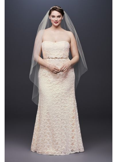 Guipure Lace Sheath Plus Size Wedding Dress - Fresh, pretty, and perfect for any wedding, this