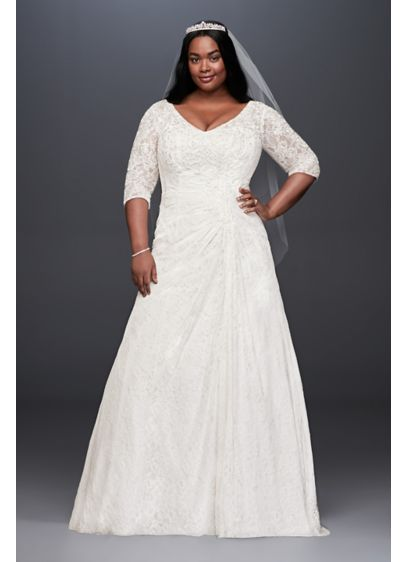 Draped Lace A-Line Plus Size Wedding Dress | David\'s Bridal