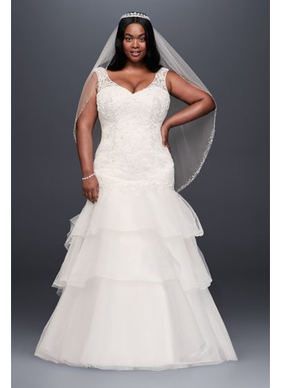 Lace and Tiered Tulle Plus Size Wedding Dress | David\'s Bridal