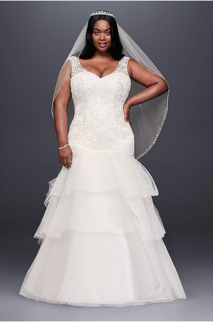 Lace and Tiered Tulle Plus Size Wedding Dress - Three layers of flouncy tulle give this beautiful