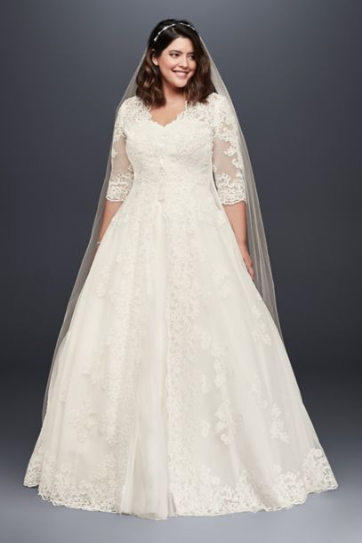 Organza Plus Size Wedding Dress With Long Jacket David S