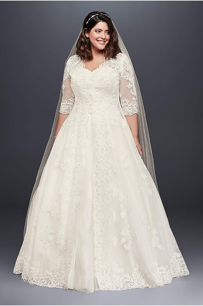 Organza Plus Size Wedding Dress with Long Jacket - This gorgeous plus-size ball gown features a lace-appliqued