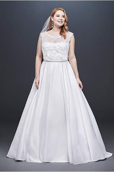 Satin Cap Sleeve Plus Size Ball Gown Wedding Dress