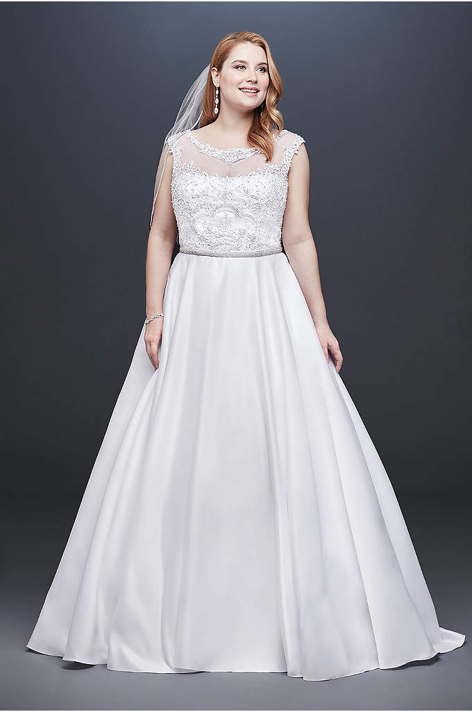 Satin Cap Sleeve Plus Size Ball Gown Wedding - Simply beautiful, this satin ball gown features an