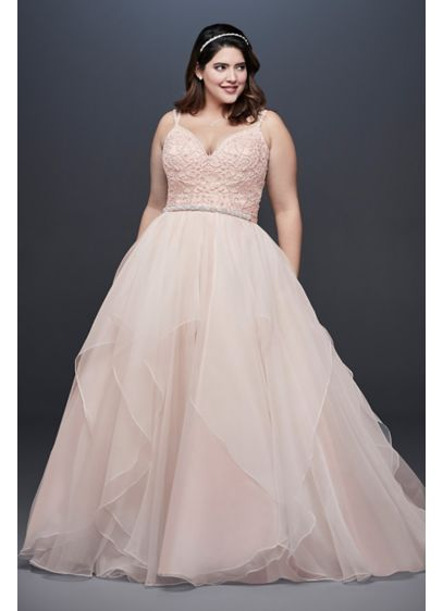 Garza Plus Size Wedding Dress with Double Straps - This Garza ball gown features an encrusted ballerina